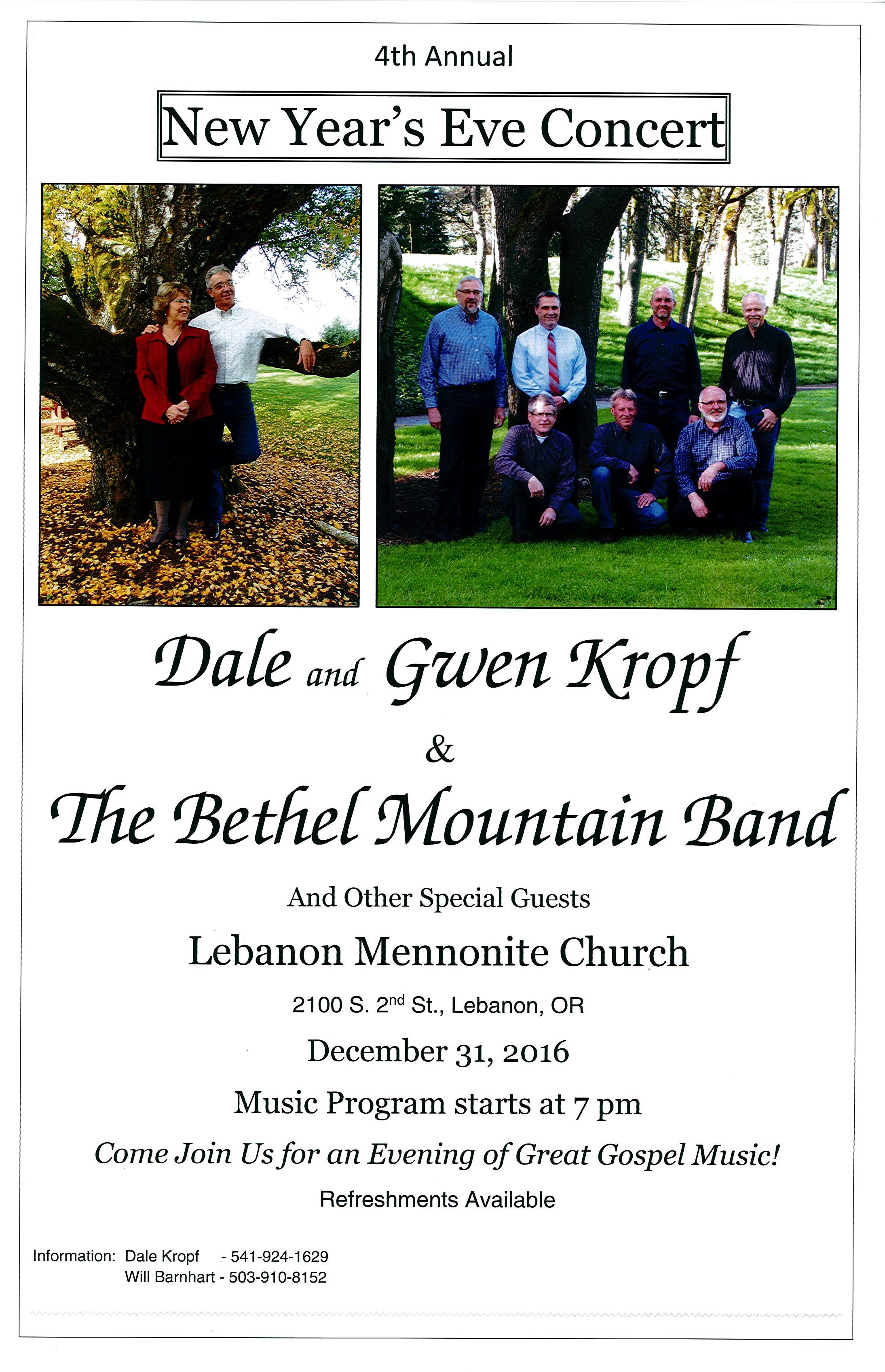 New Year's Eve Concert at Lebanon Mennonite Church | Pacific